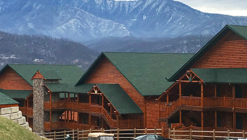 Cabins with mountains in the background - Westgate Smoky Mountain Resort
