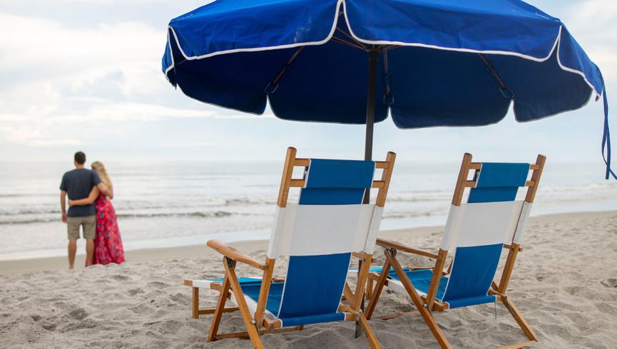 Beach Umbrella And Chairs at The Beach