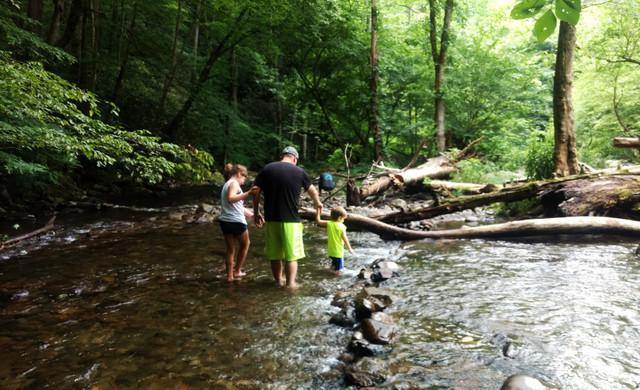Family walking through the river | Wild Bear Inn