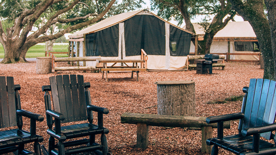 Outside the Glamping tent at our glamping resorts in River Ranch Florida | Florida Glamping | Westgate River Ranch Resort