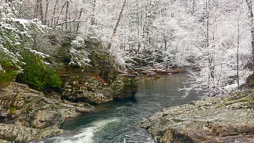 Forest and stream in Winter - Westgate Smoky Mountain Resort