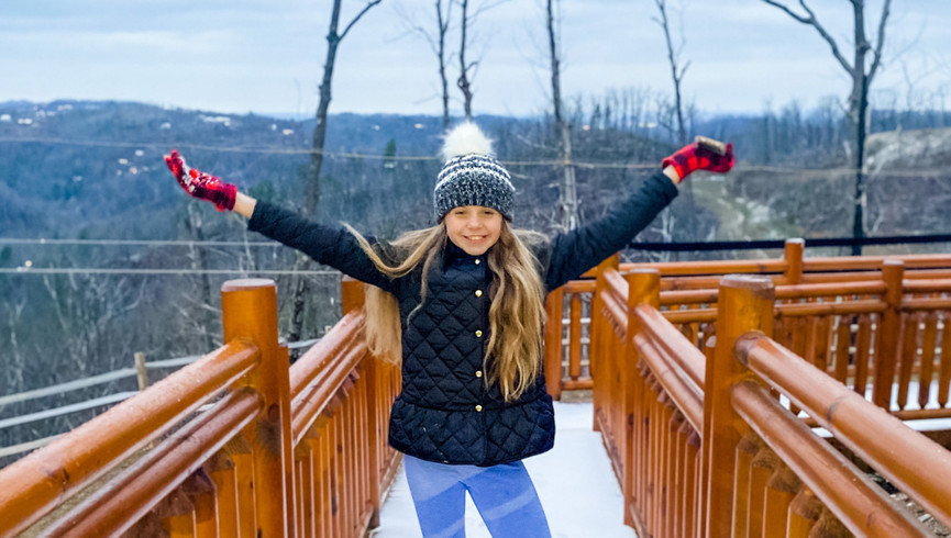 Girl posing on a hallway in the Winter - Westgate Smoky Mountain Resort