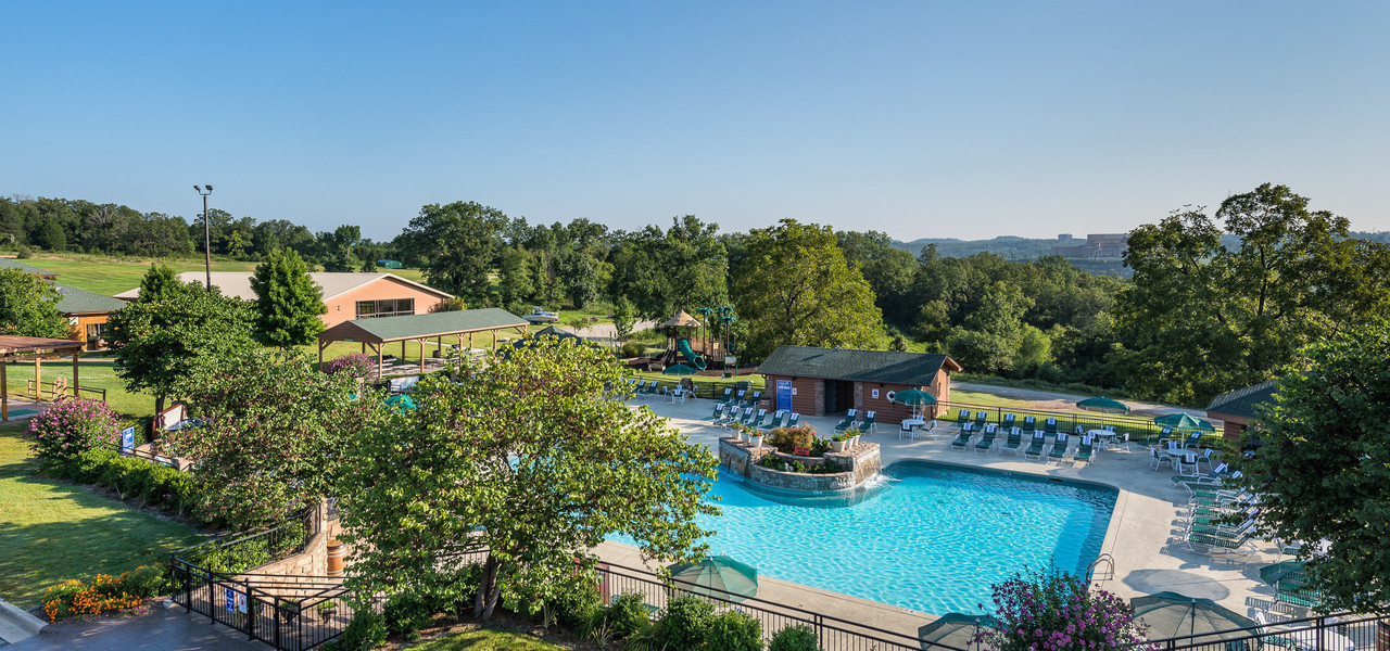 Aerial View of pool at Westgate Branson Woods Resort