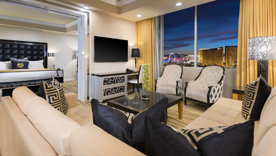 Living and bedroom area in Presidential Suite - Westgate Las Vegas