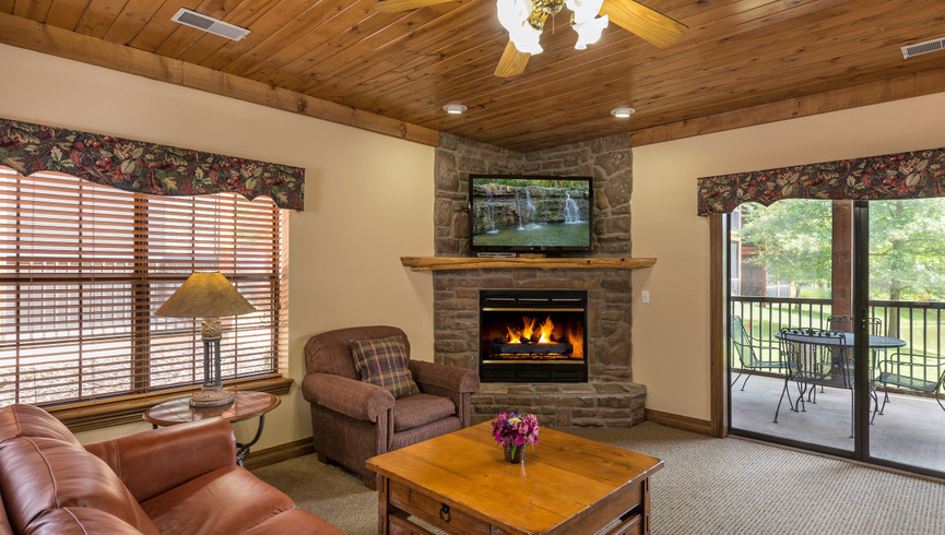 Living Room And Fireplace In A Villa At Westgate Branson Woods Resort