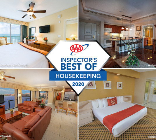 Collage of various resorts with AAA best of housekeeping logo over it- Westgate Resorts