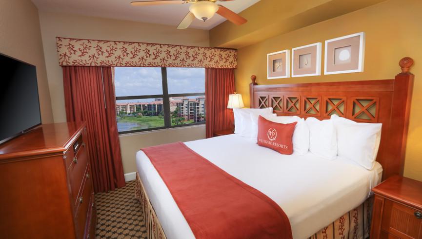 Bedroom with lake views at Westgate Lakes Resort - Housekeeping Jobs