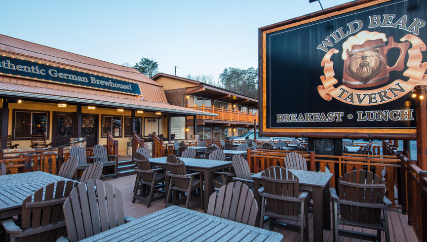 Outdoor eating area at Wild Bear Tavern - Food & Beverage Jobs - Wild Bear Inn