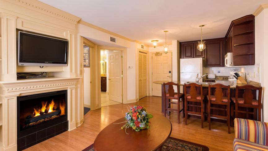 Living Area in one bedroom at Westgate Williamsburg Resort - Housekeeping Jobs