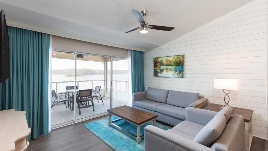 Living Area in the one bedroom deluxe villa | Westgate Branson Lakes Resort