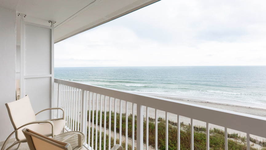 Balcony with ocean views in the Double Oceanfront Room - Westgate Myrtle Beach Resort
