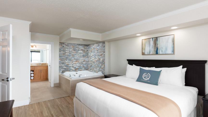 bedroom/bathroom in the One Bedroom Deluxe Oceanfront Villa- Westgate Myrtle Beach Resort