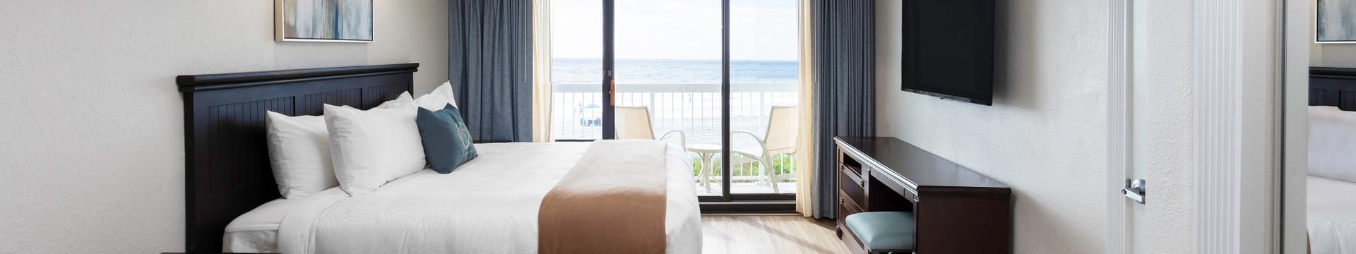 Bedroom in the One Bedroom Deluxe Oceanfront Villa - Westgate Myrtle Beach Resort