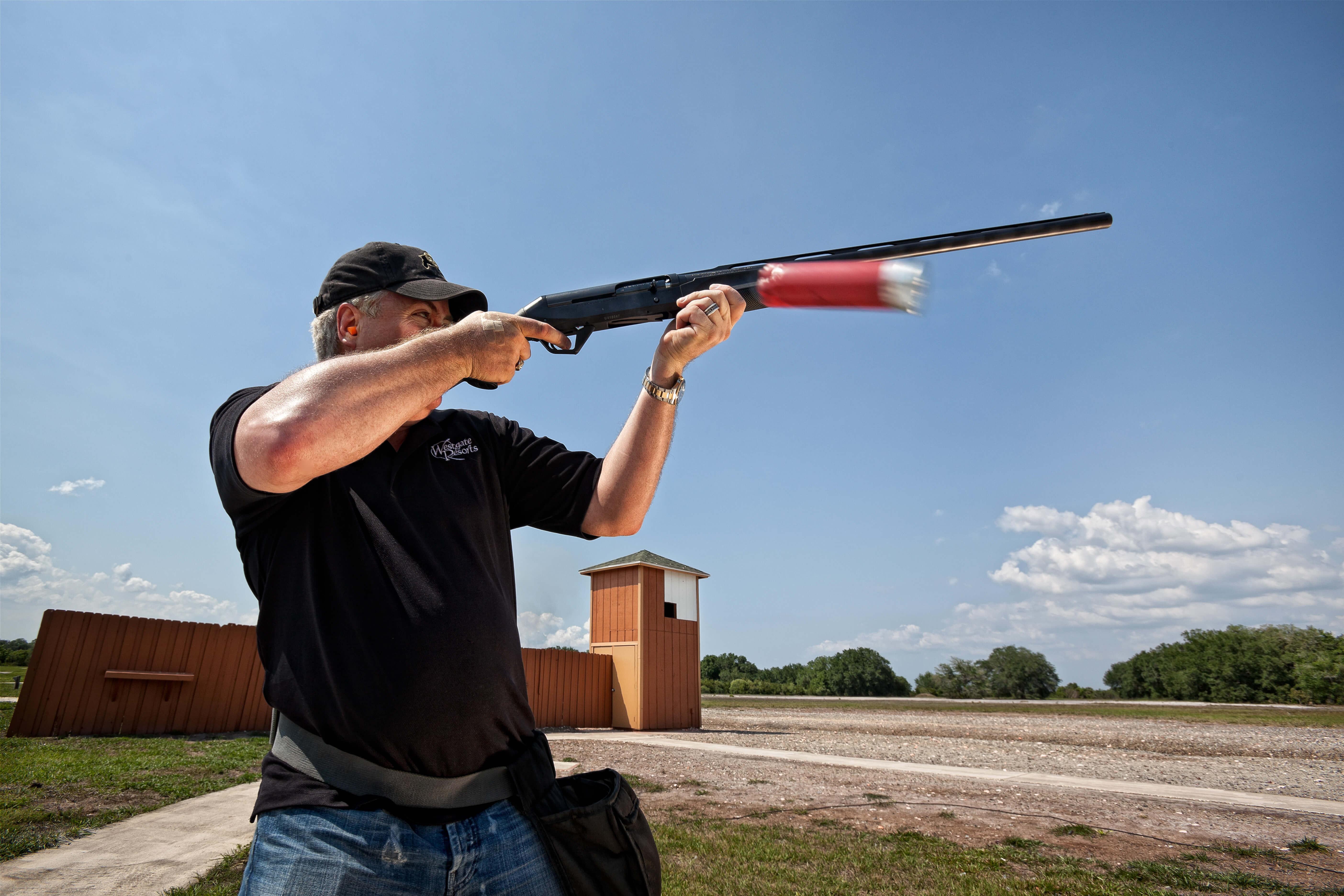 Guest taking target practice at Trap & Skeet Range | Westgate River Ranch Resort & Rodeo | Westgate Resorts