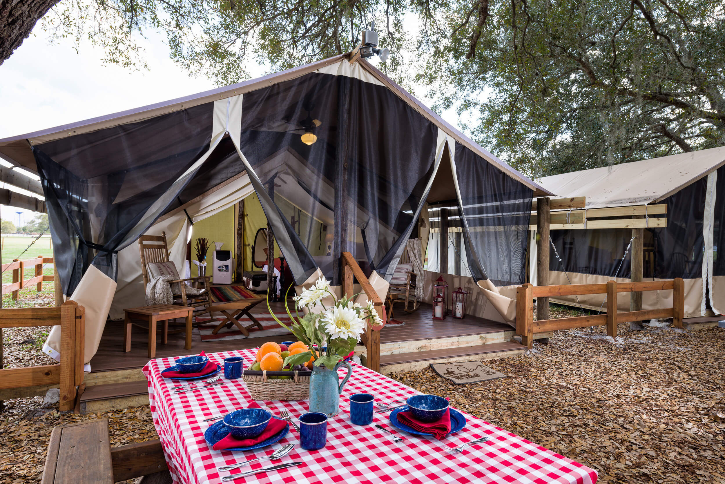 Picnic Table in front of Glamping Tent | Westgate River Ranch Resort & Rodeo