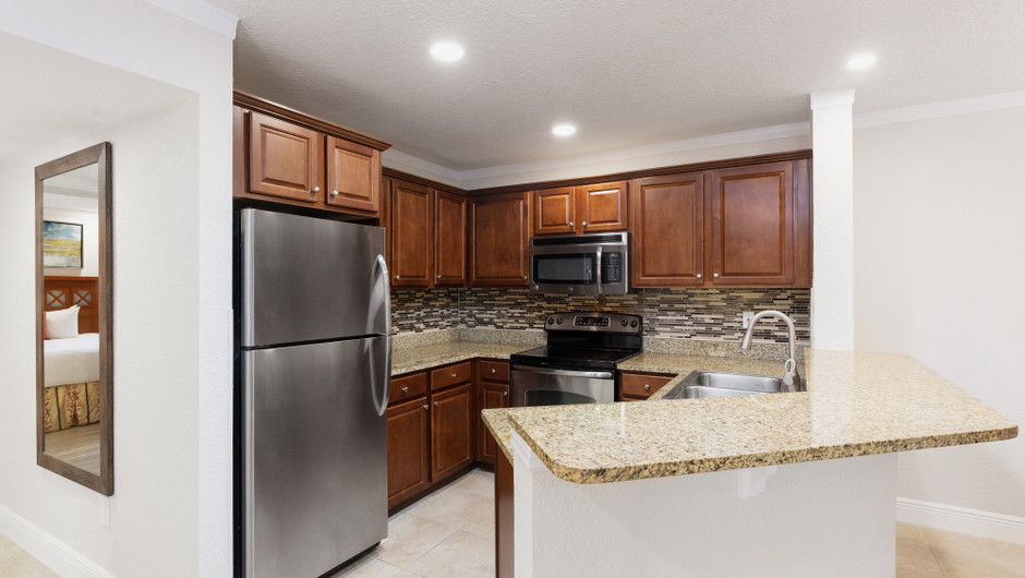 Kitchen in Two-Bedroom Deluxe Villa | Westgate Blue Tree Resort | Westgate Resorts Orlando