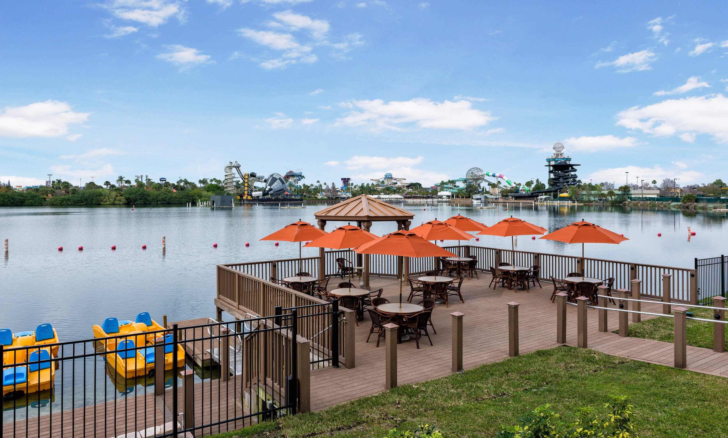 Outdoor Lounge and Boat Launch | Westgate Palace Resort | Orlando, FL | Westgate Resorts