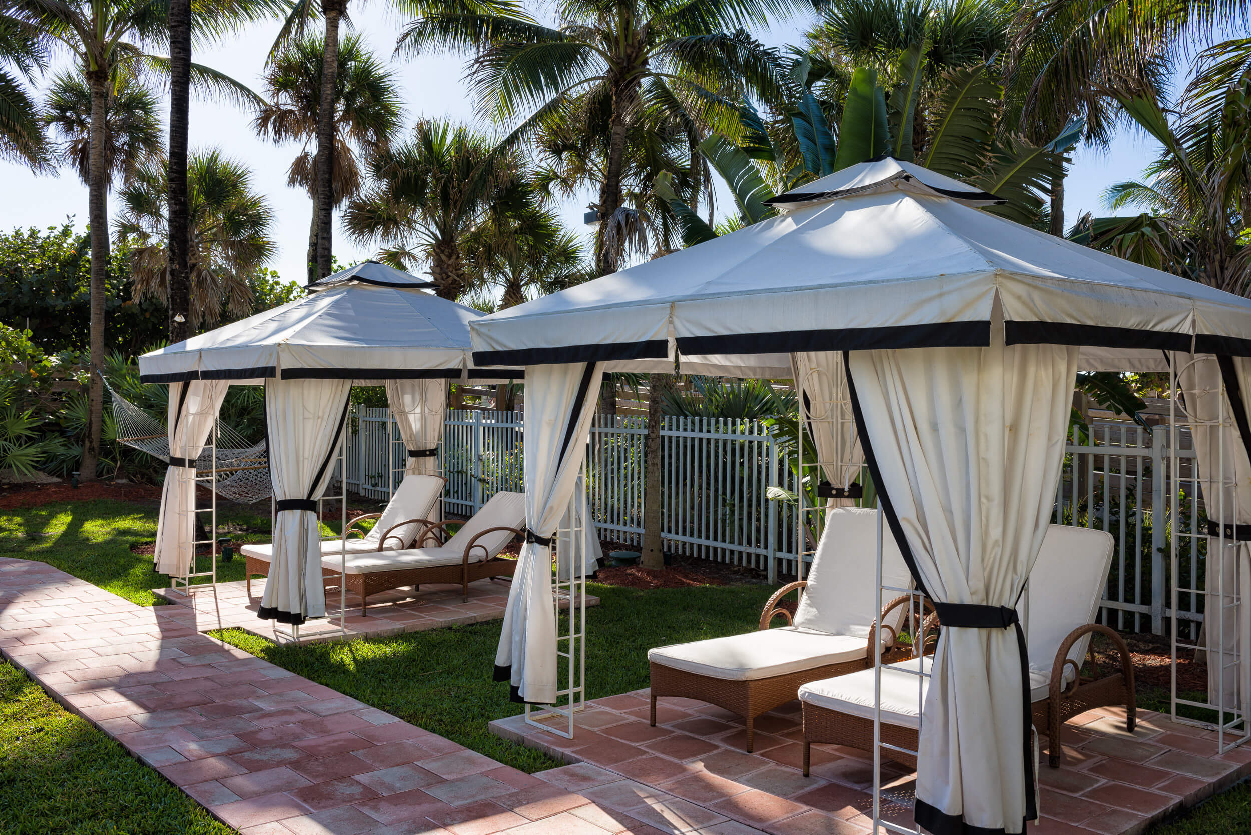 Private cabanas with lounge chairs | Westgate South Beach Oceanfront Resort