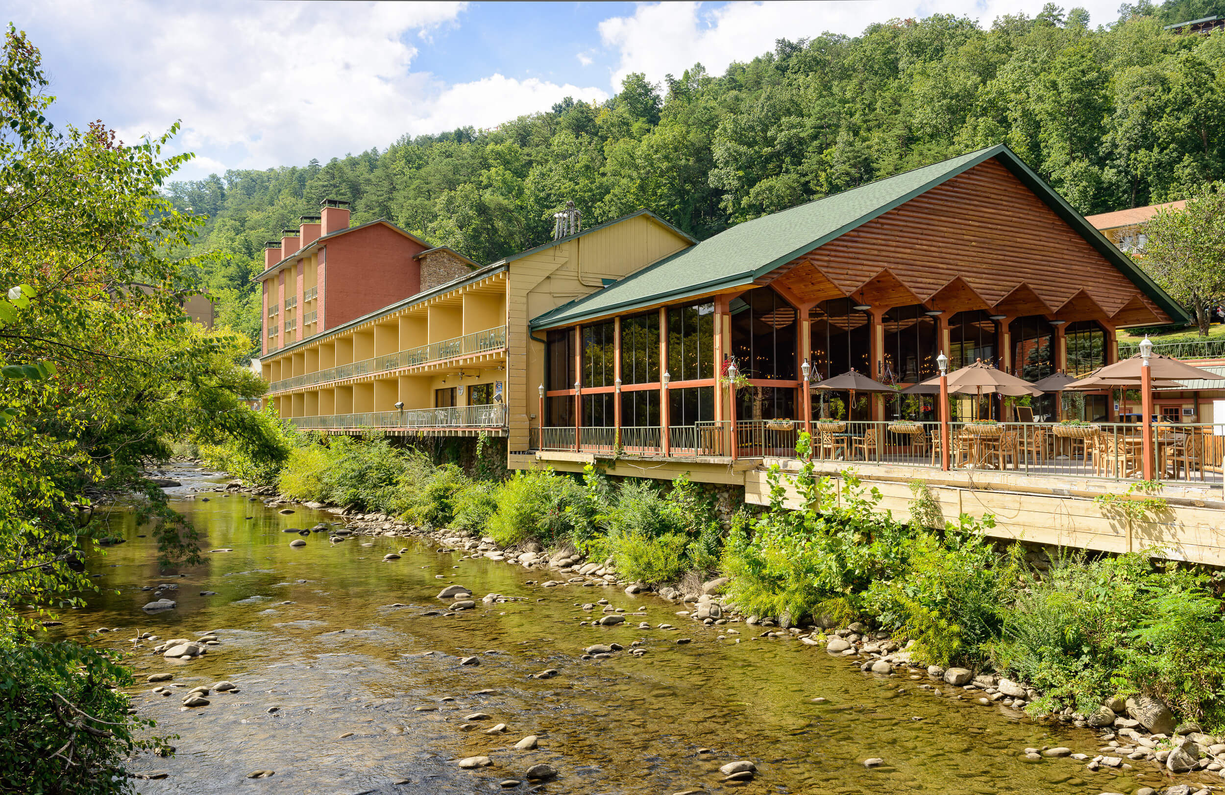 Little Pigeon River flowing in front of Drafts Sports Grill | River Terrace Resort & Convention Center | Westgate Resorts