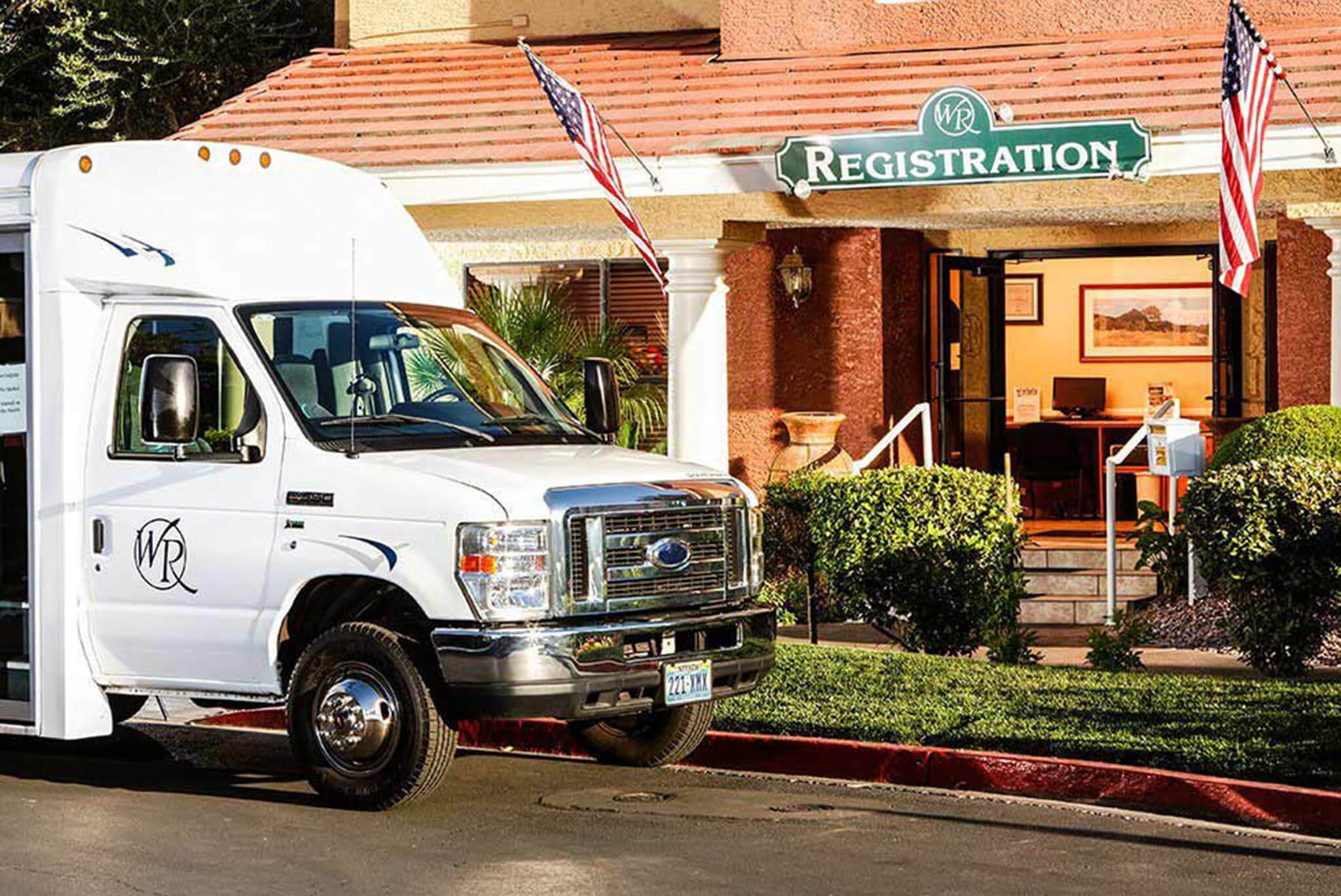 Complimentary shuttle in front of Registration | Westgate Flamingo Bay Resort | Westgate Resorts in Las Vegas NV